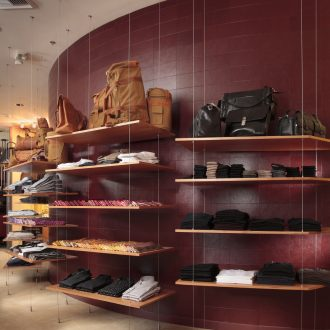 Retail+Feature+Wall+-+EcoDomo+Recycled+Leather+Tiles+-+Photo+by+Greg+Kozawa